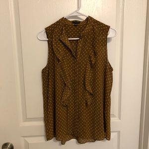 Ann Taylor ruffled sleeveless blouse